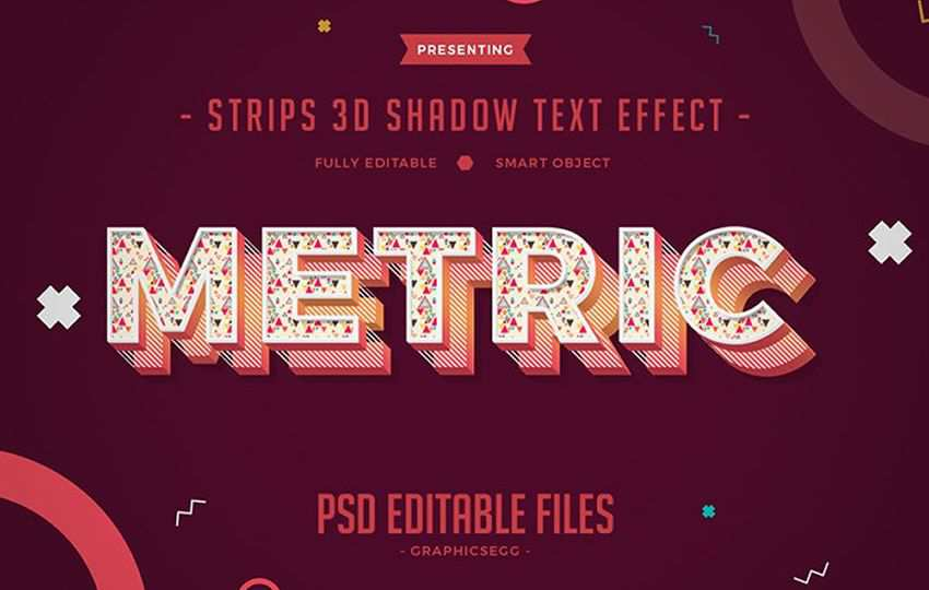 Free Photoshop Layer Styles PSD Strips 3D Shadow Text Effect