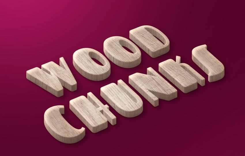 Free Photoshop Layer Wood Chunks Free Text Style PSD
