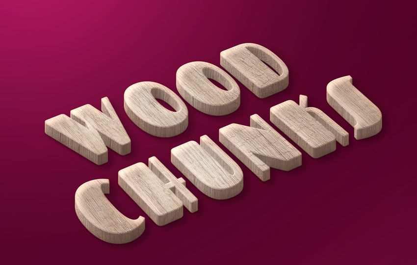Free Photoshop Layer Wood Chunks Free Text Style PSD