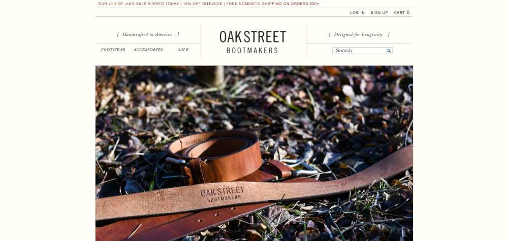 Oak Street Bootmakers ecommerce web design inspiration user interface shop