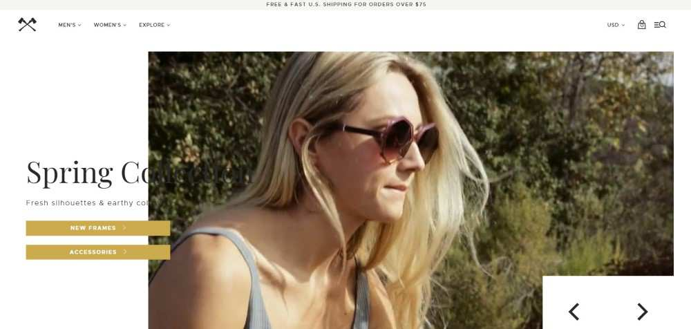 Shwood Eyewear ecommerce web design inspiration user interface shop
