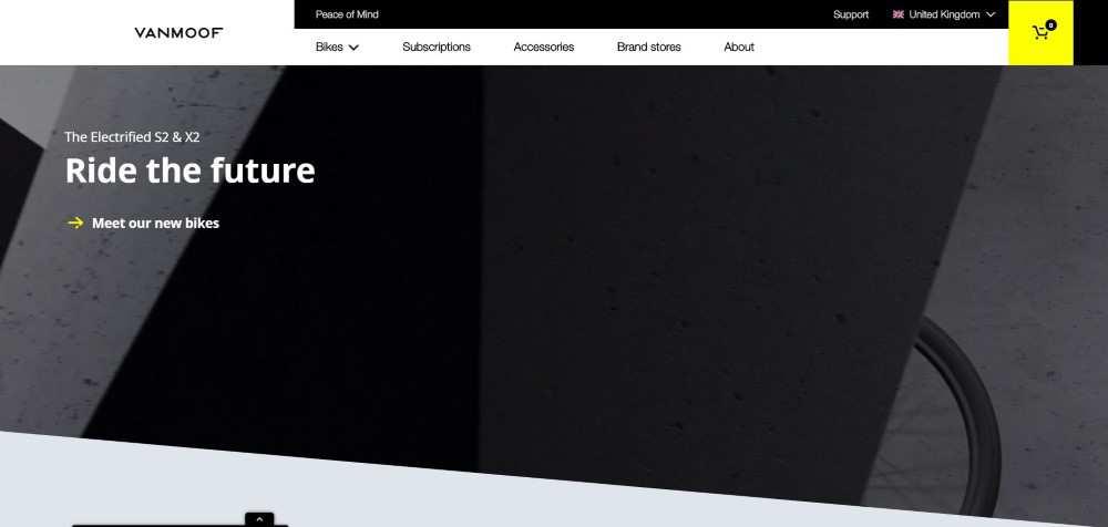 VanMoof ecommerce web design inspiration user interface shop