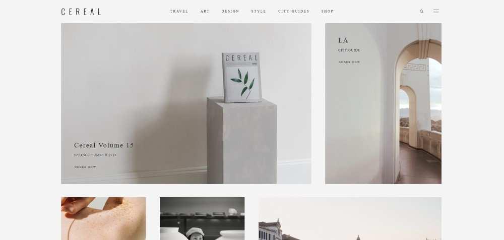 Cereal ecommerce web design inspiration user interface shop