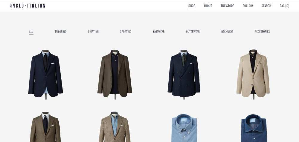 Anglo-Italian ecommerce web design inspiration user interface shop