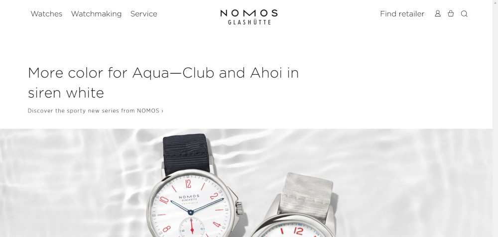 NOMOS Glashütte ecommerce web design inspiration user interface shop