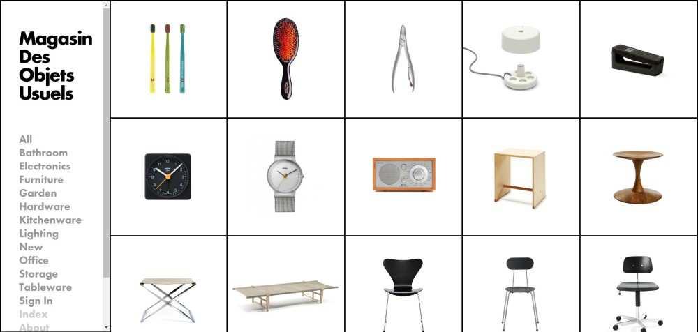 Magasin Des Objets Usuels ecommerce web design inspiration user interface shop