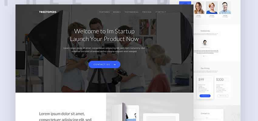 free Start-up Landing Page Template