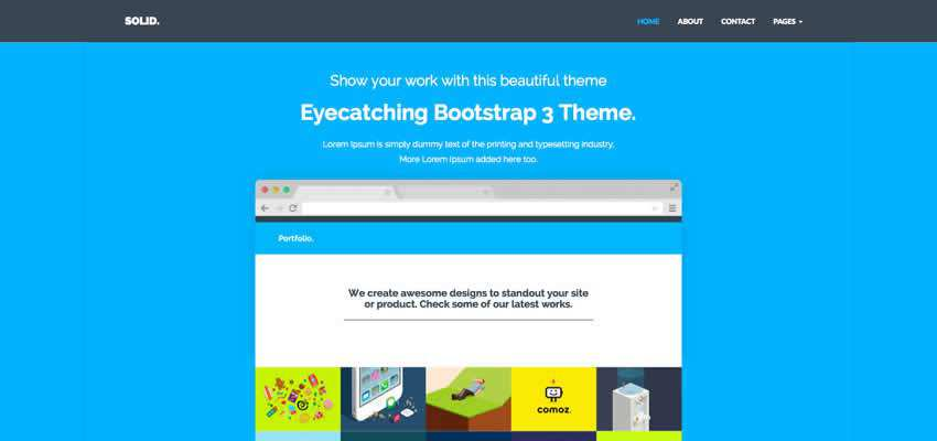 Solid flat 7 page template agencies free freelancers bootstrap