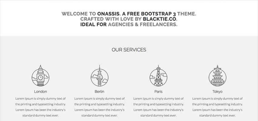 Onassis single-page template design agencies creative freelancers bootstrap free