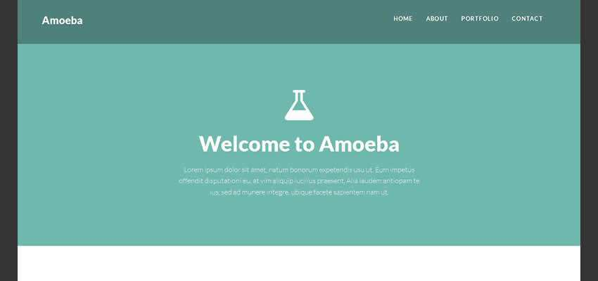 Amoeba flat one-page template  creative free agencies bootstrap