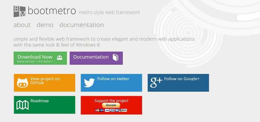 BootMetro free simple feature-rich web UI framework kit bootstrap