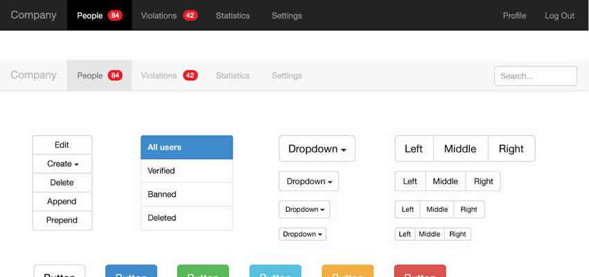 UI Kit Controls Components Free Vector Format Bootstrap