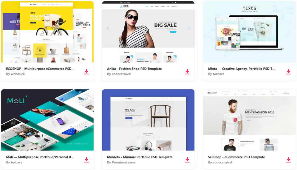 10 Free Ecommerce Shopping Psd Web Templates