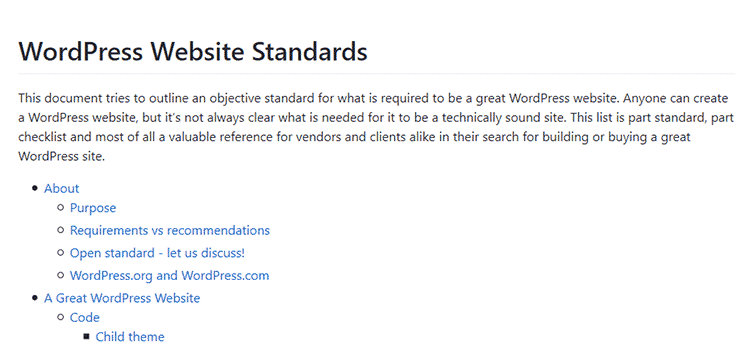 WordPress Website Standards