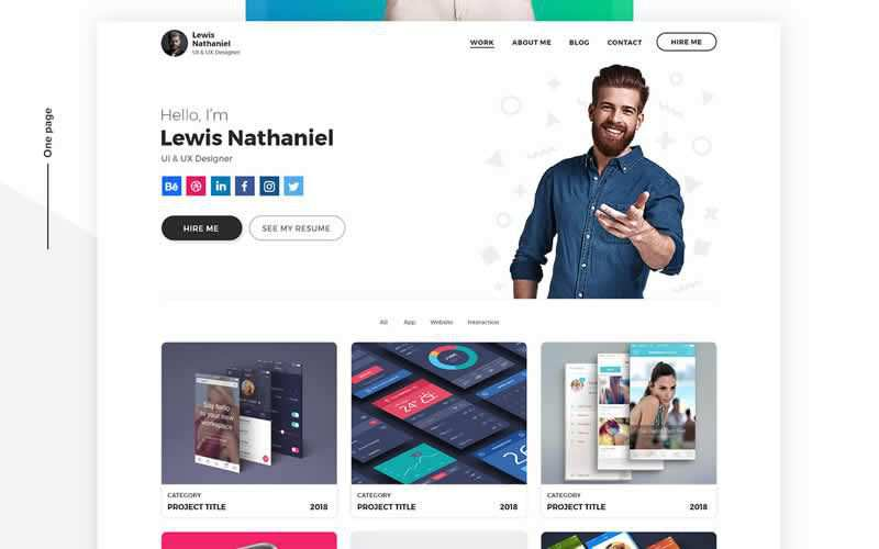 Free Designer Portfolio PSD Web Template Adobe Photoshop