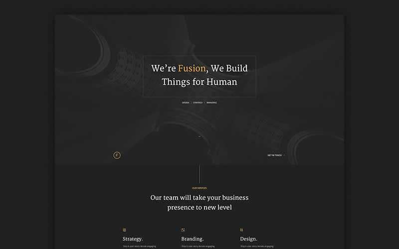 Fusion Dark Portfolio PSD Template Free Adobe Photoshop