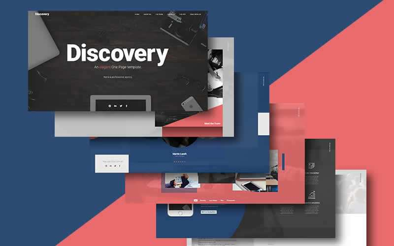 Discovery One Page Website PSD Template Free Adobe Photoshop