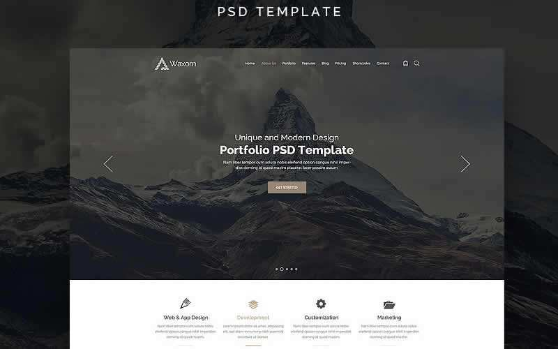 Waxom PSD Template Free Adobe Photoshop