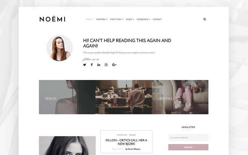 Noemi Elegant Blog PSD Template Free Adobe Photoshop