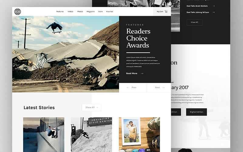 Transworld Skateboarding Magazine Blog PSD Template Free Adobe Photoshop