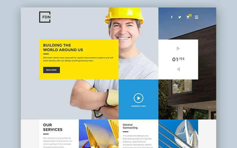 Foundation PSD Temlate for Construction Websites Free Adobe Photoshop