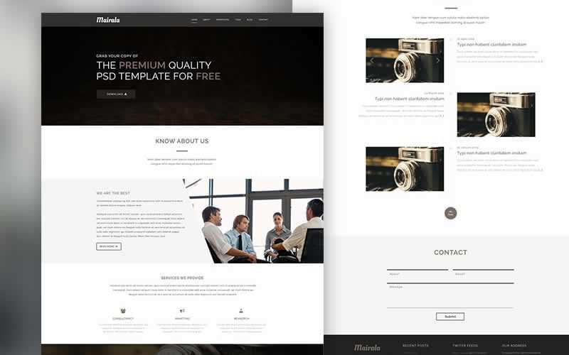 One Page Corporate Agency PSD Template Free Adobe Photoshop
