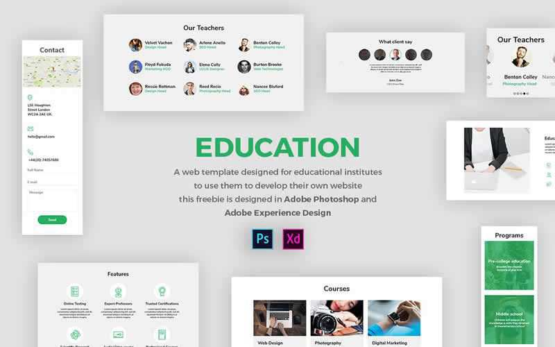 Education Web Template Educational Institutes Free Adobe Photoshop