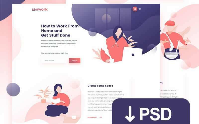 Remote Jobs Website Template PSD Free Adobe Photoshop