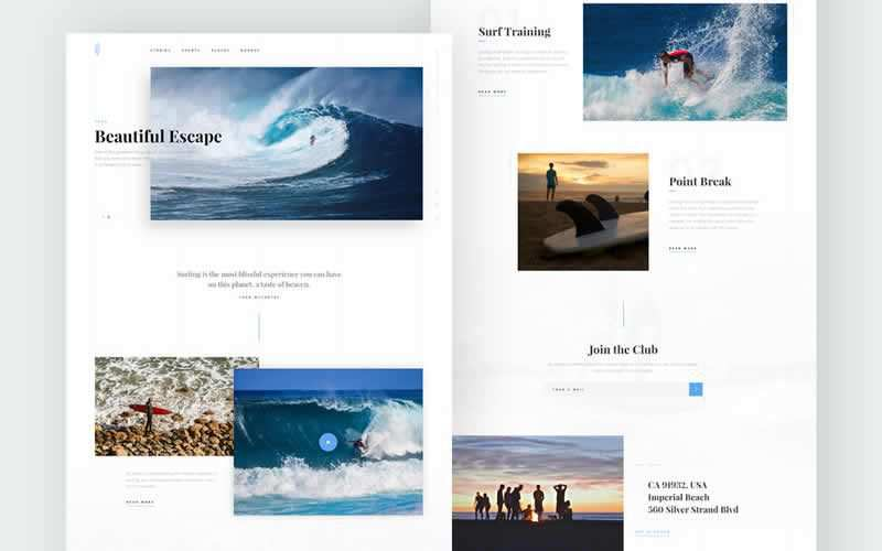 Surfing PSD Template Free Adobe Photoshop