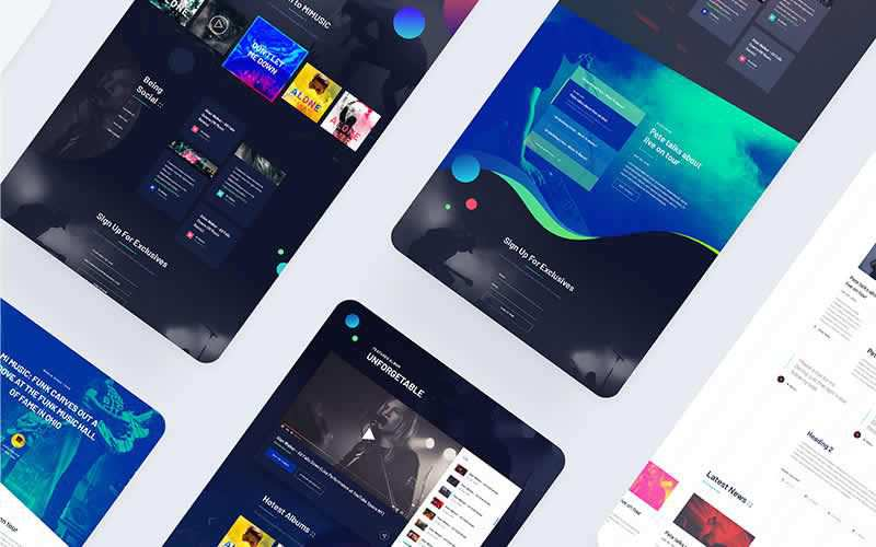 Music Website PSD Template Free Adobe Photoshop