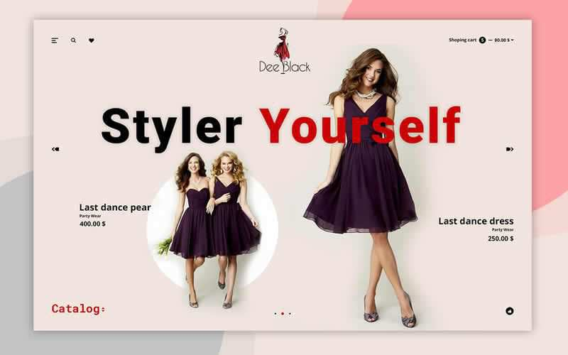 Dee Black Fashion Landing Page PSD Free Adobe Photoshop