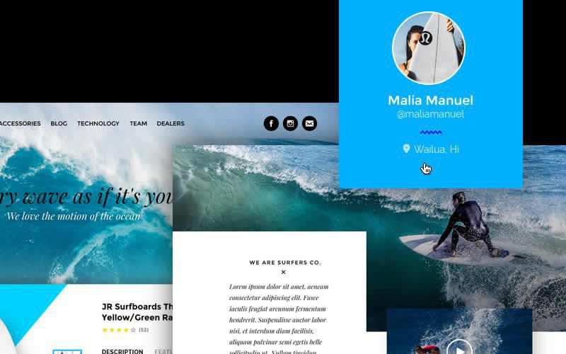 Surfers Company Surf Shop PSD Template Free Adobe Photoshop