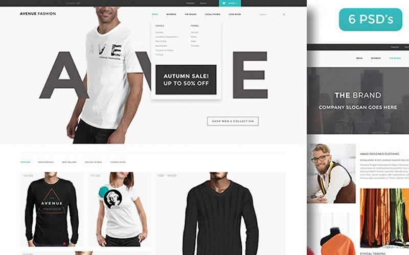 Avenue Fashion eCommerce PSD Web Template Free Adobe Photoshop