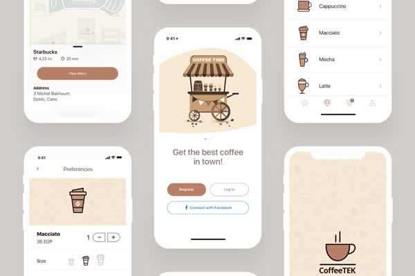 Coffee Mobile App Template Freebie free ui templates resources designer