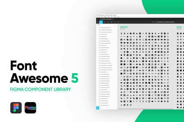 Font Awesome 5 Icon Component Library free ui templates resources designer