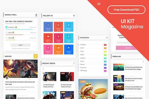 Magazine Layout UI Kit free ui templates resources designer