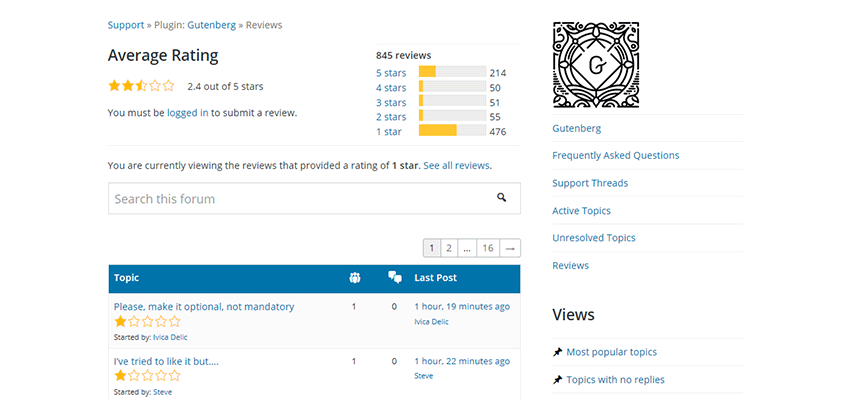 The WordPress.org review page for Gutenberg.