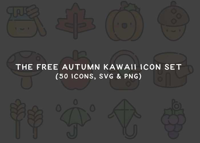 The Free Autumn Kawaii Icon Set in SVG & PNG Formats