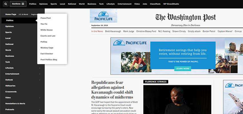 The Washington Post requires users to click a button in order to close the navigation panel.