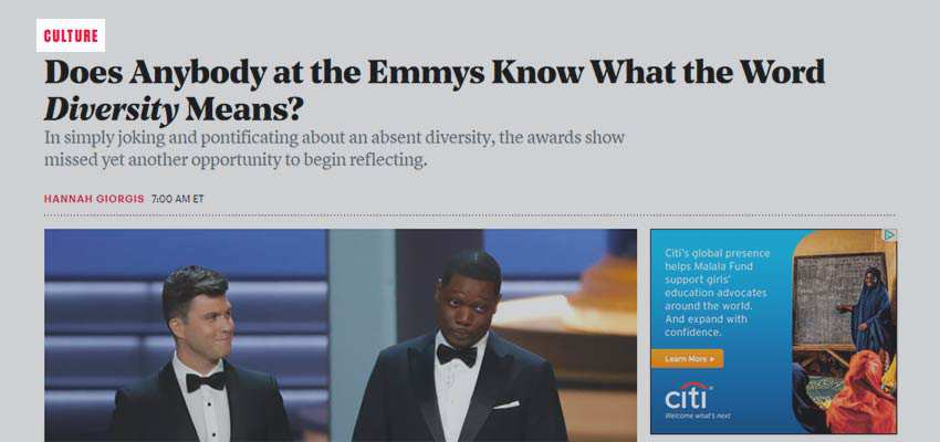 The Atlantic uses just the section title in their breadcrumb trail.