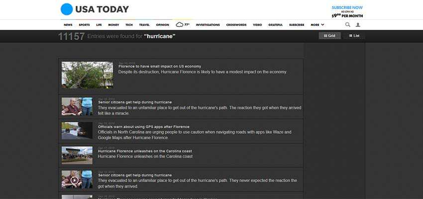 USA Today displays images and post meta in search results.
