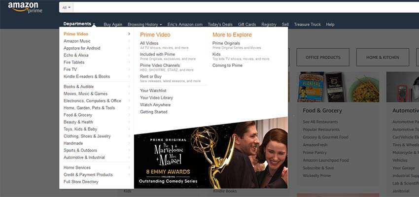 Amazon's implementation of mega menus are easy to read.