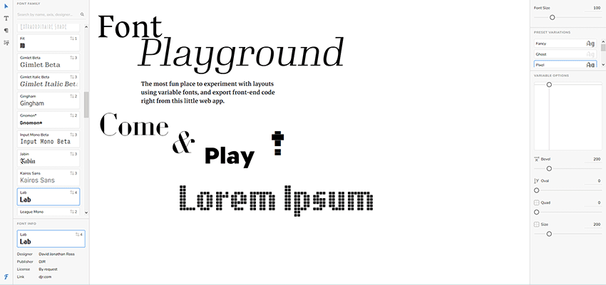 Font Playground testing tool