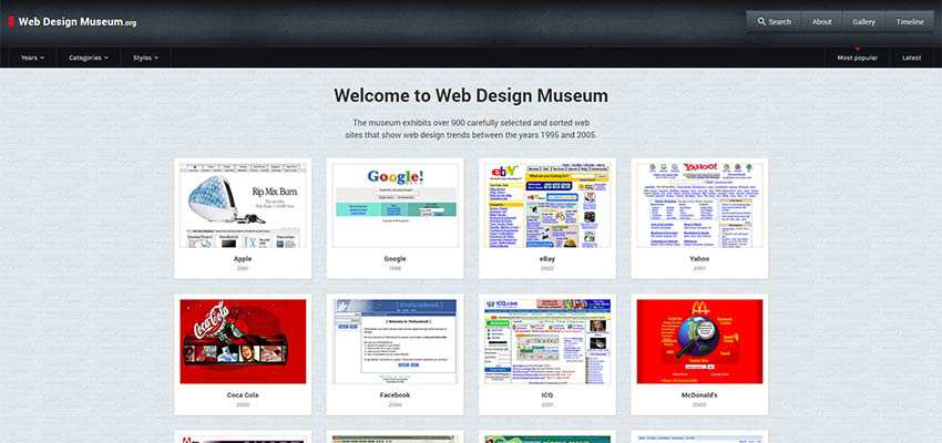 Web Design Museum home page