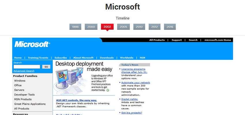 Microsoft home page, circa 2002