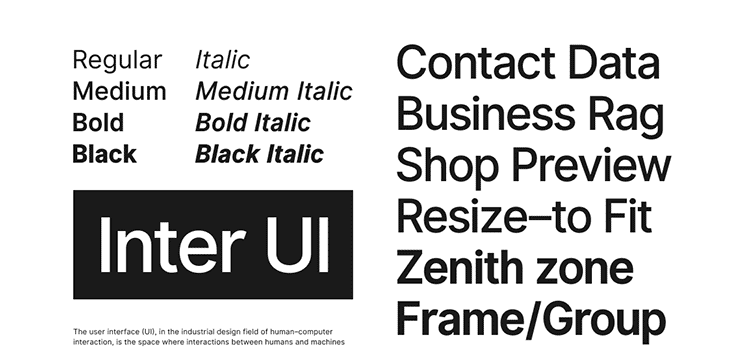 The Inter UI font family