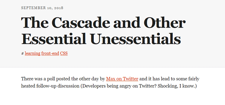 The Cascade and Other Essential Unessentials