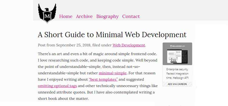 A Short Guide to Minimal Web Development