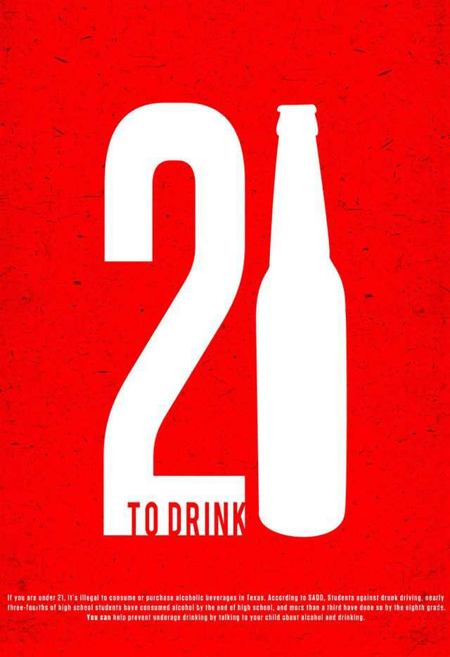 21 to Drink typography in advertising