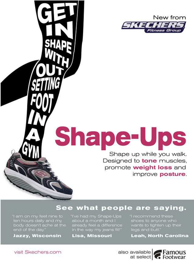 Shape Ups typography in advertising